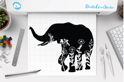Floral Elephant SVG Cut Files. Floral Elephant Clipart.