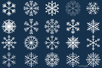 Snowflakes clipart set, Christmas snowflake clip art, Winter holiday decor