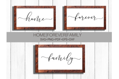Home, Family, Forever Script SVG Cut Files