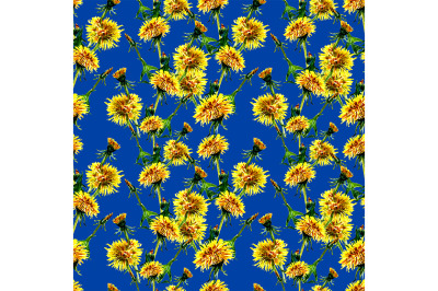 Seamless flowers pattern with dandelion leaves and flowers.