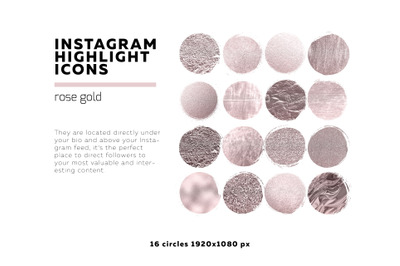 Metallic Gold Instagram highlighted icons foil and glitter textures se