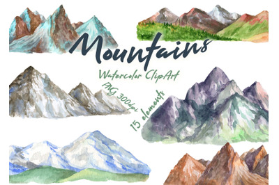 Watercolor mountains clipart hills png