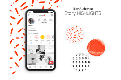 Funny doodle Instagram highlighted icons. Hand-drawn textures Doodle