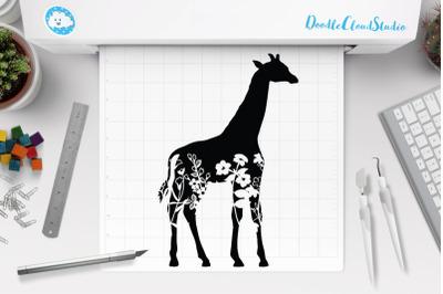 Floral Giraffe SVG, Floral Giraffe Clipart, Floral Animal SVG