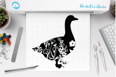 Floral Goose SVG Cut Files, Floral Goose Clipart