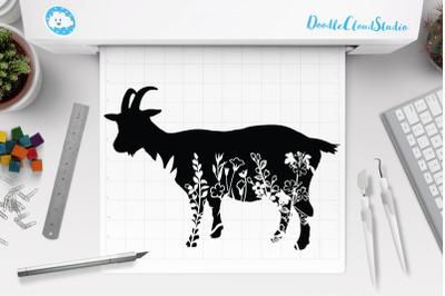 Floral Goat SVG Cut SVG, Goat Clipart
