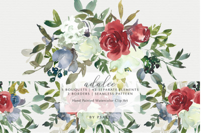 Red Blue & Cream Watercolor Floral Clip Art Collection