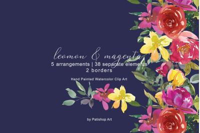Lemon  magenta watercolor floral clipart