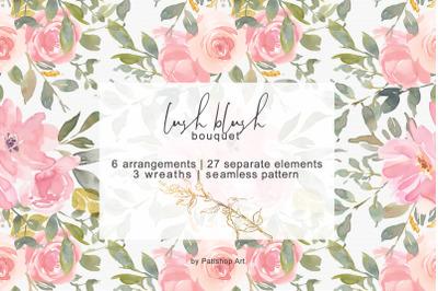 Blush Watercolor Floral Clip Art Collection
