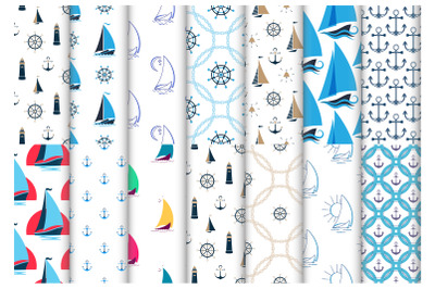 Nautical seamless patterns with ships, anchors, lighthouses