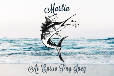Animal series, wild soul Marlin fish vector illustration