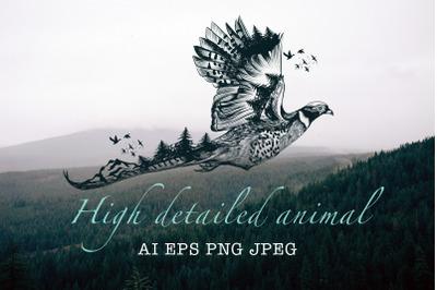 Animal series, wild soul pheasant vector illustration