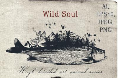 Animal series, wild soul fish vector illustration