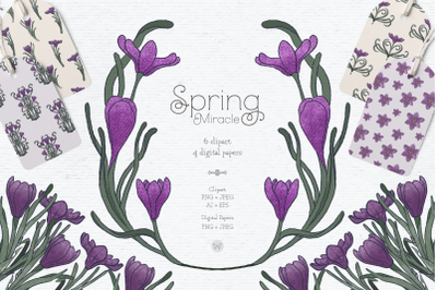 Vintage Easter clipart, spring clipart, botanical clipart