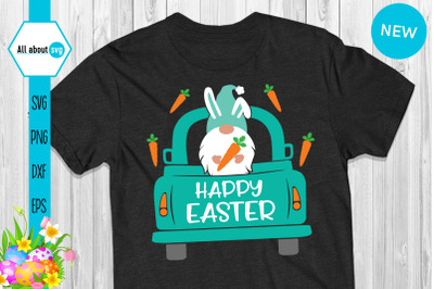 Easter Bunny Gnome In Truck Svg