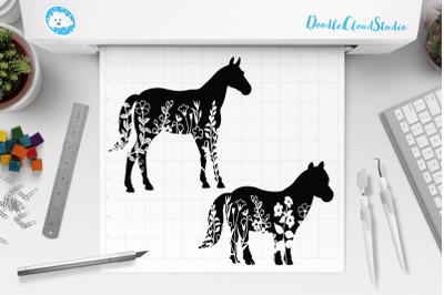 Horse Floral SVG, Horse Clipart.