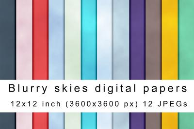 Blurry skies digital papers