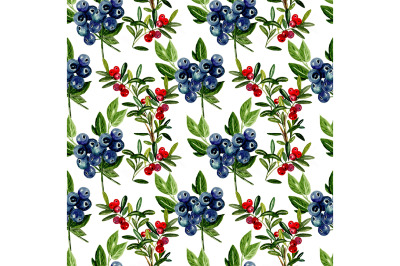 Seamless berry pattern with blue and red berries.