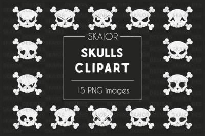 Chalkboard White Skulls Halloween Clipart