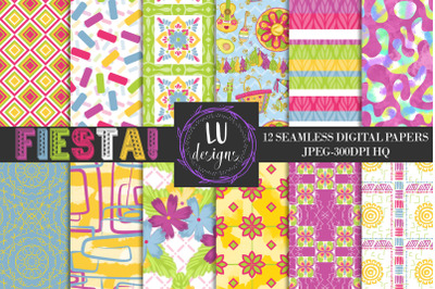 Cinco de Mayo  Digital Papers, Mexico Backgrounds, Aztec Papers