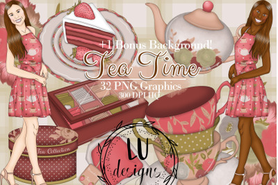 Tea Time Clipart, Tea Graphics, Tea Party Illustrations