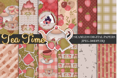Tea Time Digital Papers, Tea Backgrounds, Strawberry Patterns