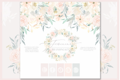 Feminine. Nude & blush pink Watercolor flowers. Branding kit