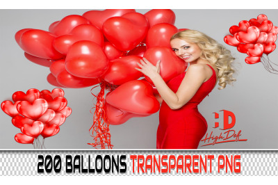200 BALLOONS TRANSPARENT PNG Photoshop Overlays, Backdrops, Background
