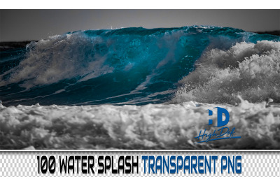 100 WATER Splash TRANSPARENT PNG Photoshop Overlays, Backdrops