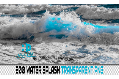 200 WATER Splash TRANSPARENT PNG Photoshop Overlays, Backdrops