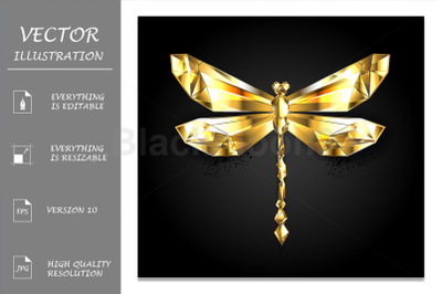 Gold Polygonal Dragonfly