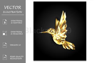 Gold Polygonal Hummingbird
