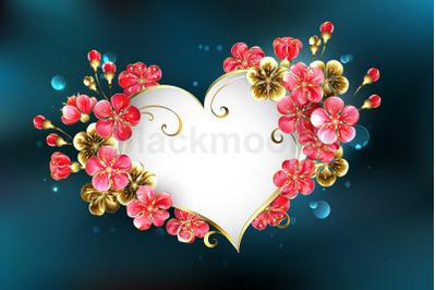 Heart with Sakura Flowers