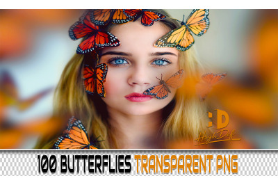 100 BUTTERFLIES TRANSPARENT PNG Photoshop Overlays, Backdrops