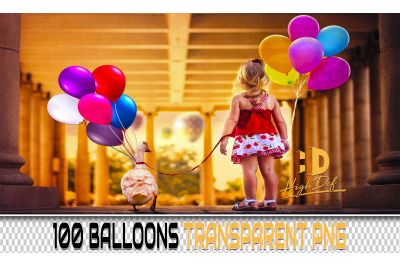 100 BALLOONS TRANSPARENT PNG Photoshop Overlays, Backdrops, Background