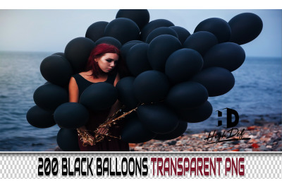 200 BLACK BALLOONS TRANSPARENT PNG Photoshop Overlays, Backdrops