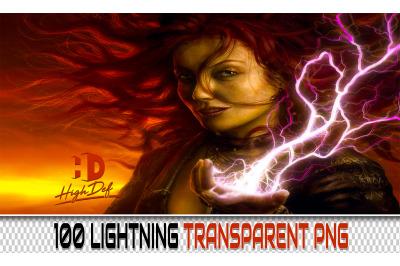 100 LIGHTNING TRANSPARENT PNG Photoshop Overlays,Backdrops,Backgrounds