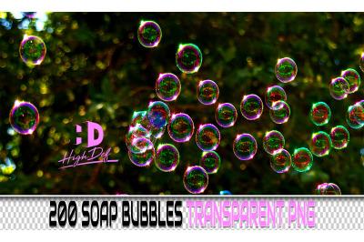 200 SOAP BUBBLES TRANSPARENT PNG Photoshop Overlays, Backdrops