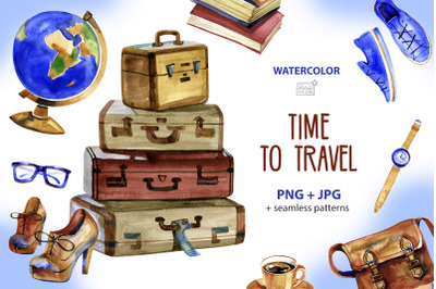 Time to travel - Watercolor cliparts