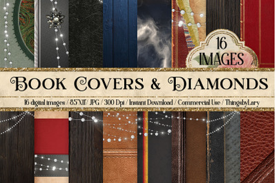 """16 Antique Book Covers with Diamond Digital Papers 8.5x11"""""""