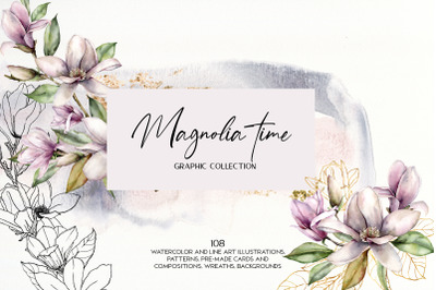 Magnolia time. Watercolor floral collection
