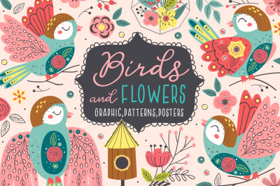 birds and flowers collection