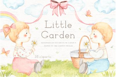 Little Garden Watercolor Clip Arts