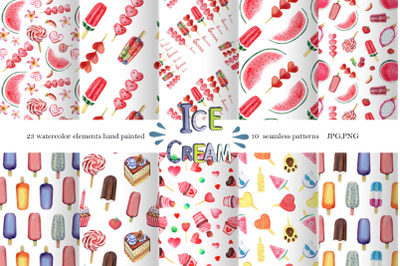 Watercolor Ice Cream Clipart Seamless patterns