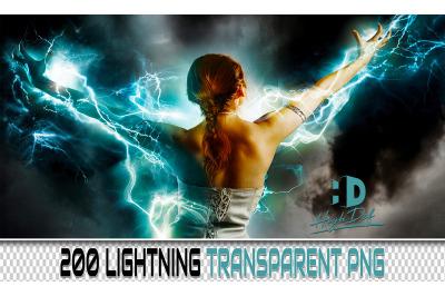 200 LIGHTNING TRANSPARENT PNG Photoshop Overlays,Backdrops,Backgrounds