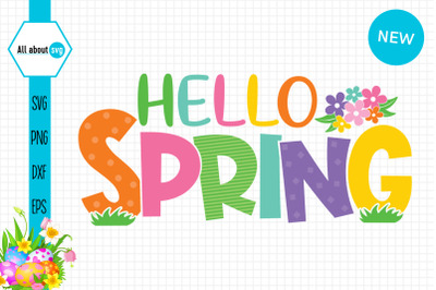 Hello Spring Colorful Svg