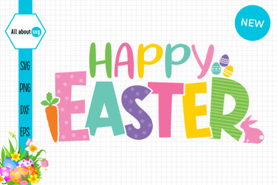 Happy Easter Colorful Svg