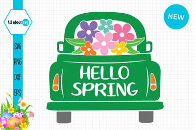 Hello spring Truck With Flowers Svg