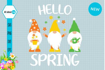 Hello Spring Gnomies Svg