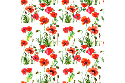 Seamless flowers pattern with poppies and leaves